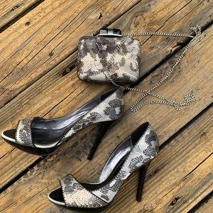 Karen Millen woman open toe shoes matching clutch
